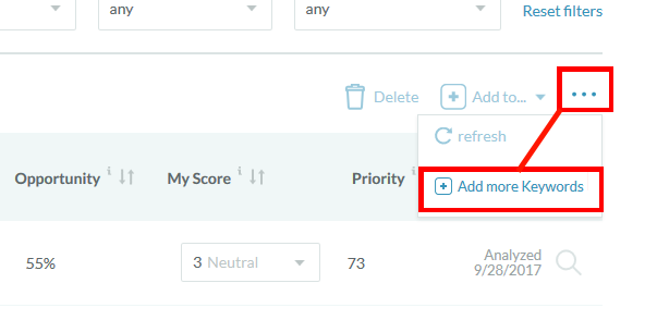 Opening Add Keywords Menu in Moz Keyword Explorer