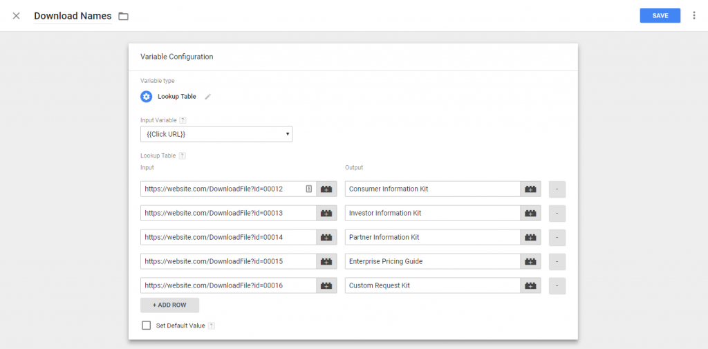 Google Tag Manager Lookup Table