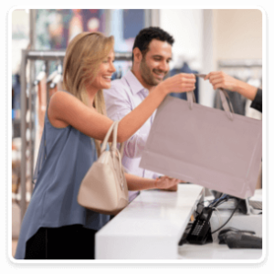 Man and woman making purchase