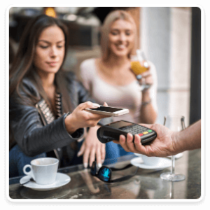 Woman making mobile purchase